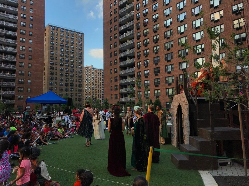 Cast of Shakespeare in the Park - LeFrak City's first play held at the Center Courtyard