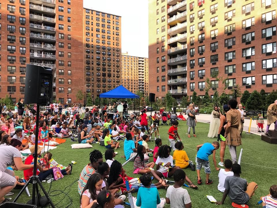 People watching LeFrak City apartments' Shakespeare in the Park