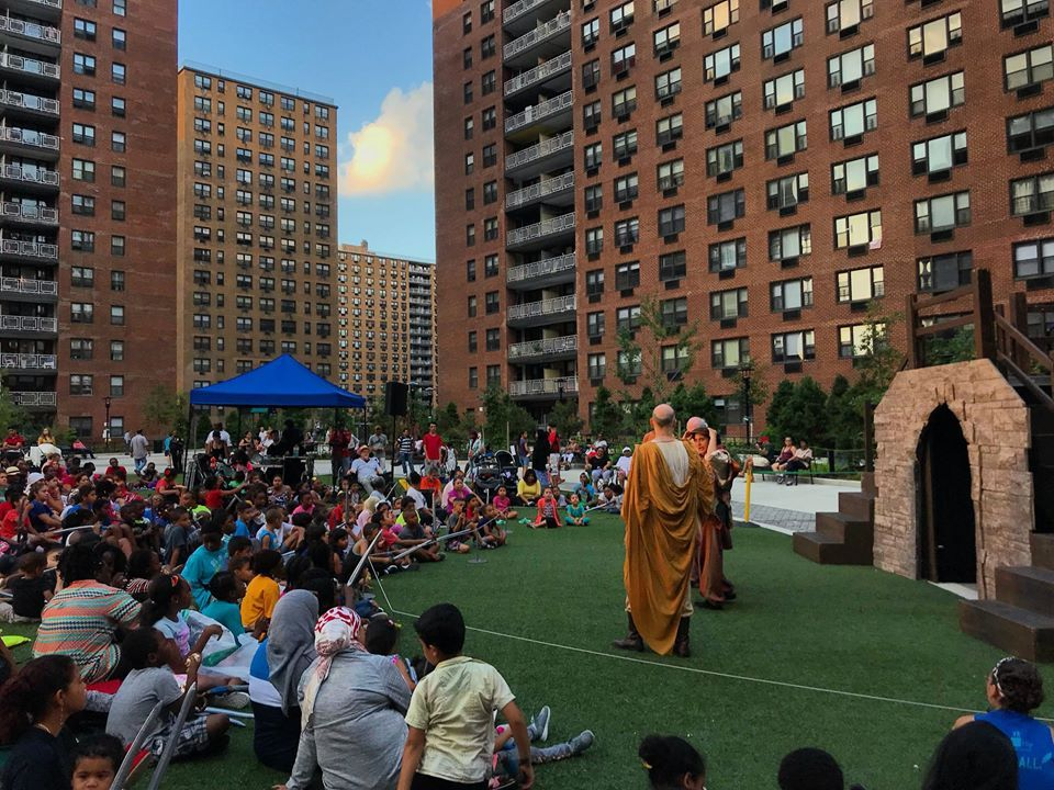 A scene from LeFrak City's first play - Shakespeare in the Park