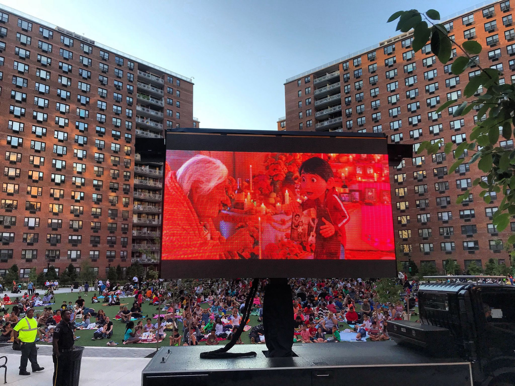 A scene from a movie being shown during LeFrak City apartments' amazing movie nights