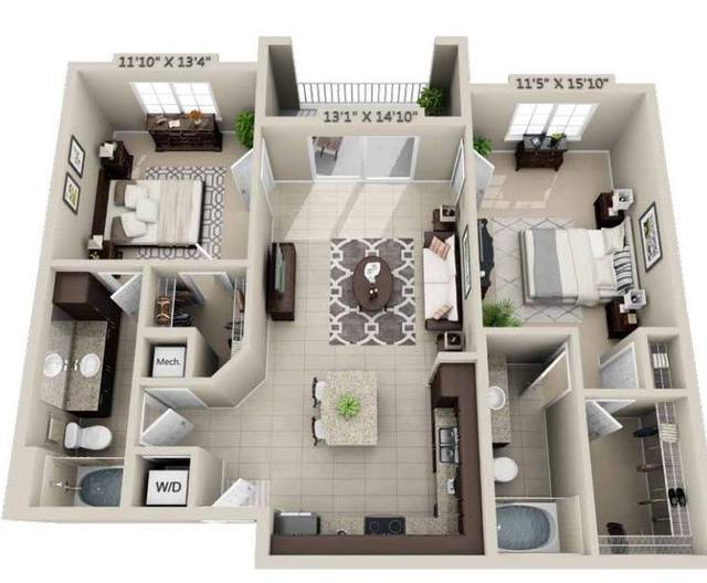 A rendering of the Civetta floor plan