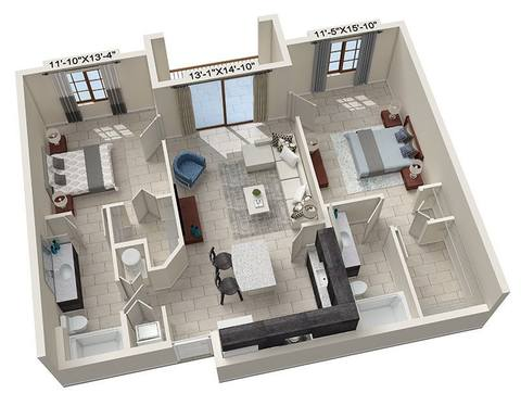 A rendering of the Bracci floor plan