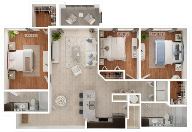 A rendering of the Linas floor plan