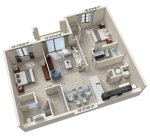 A rendering of the Bardini floor plan