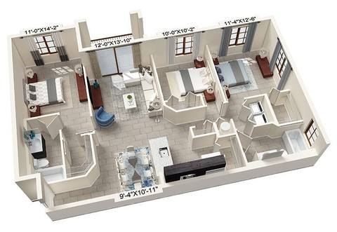A rendering of the Corbelli floor plan
