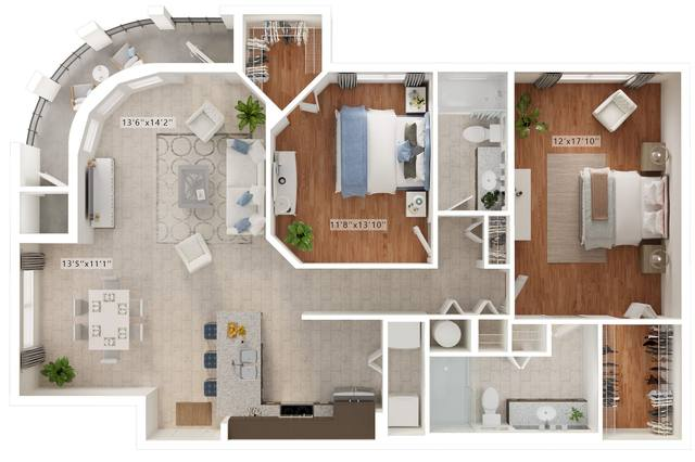 A rendering of the Miletto floor plan
