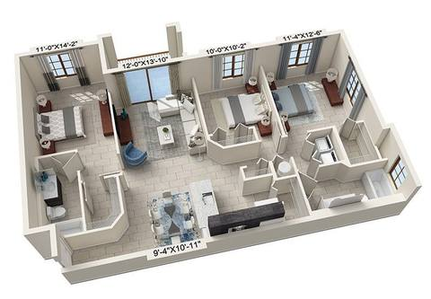 A rendering of the Camollia floor plan