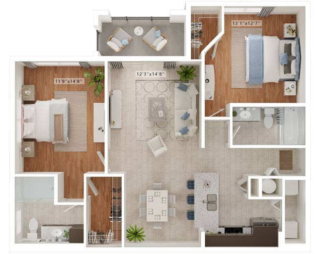 A rendering of the Grappa floor plan