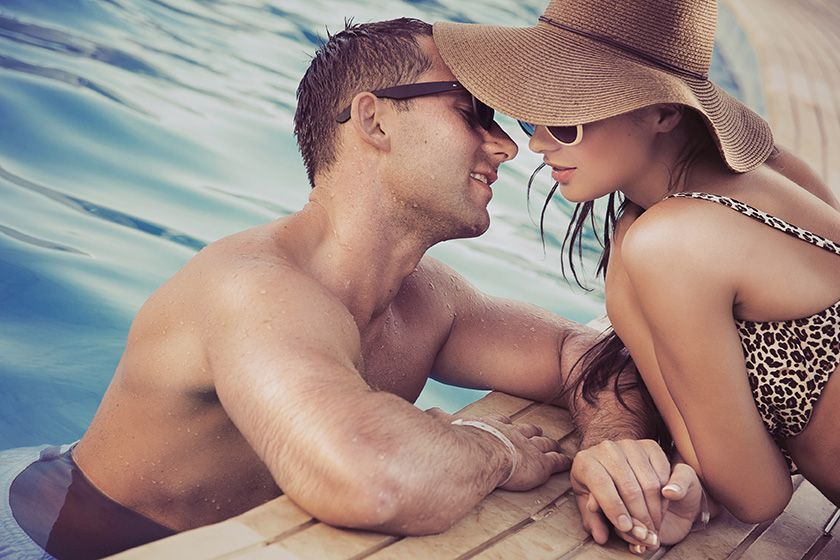 couple at poolside