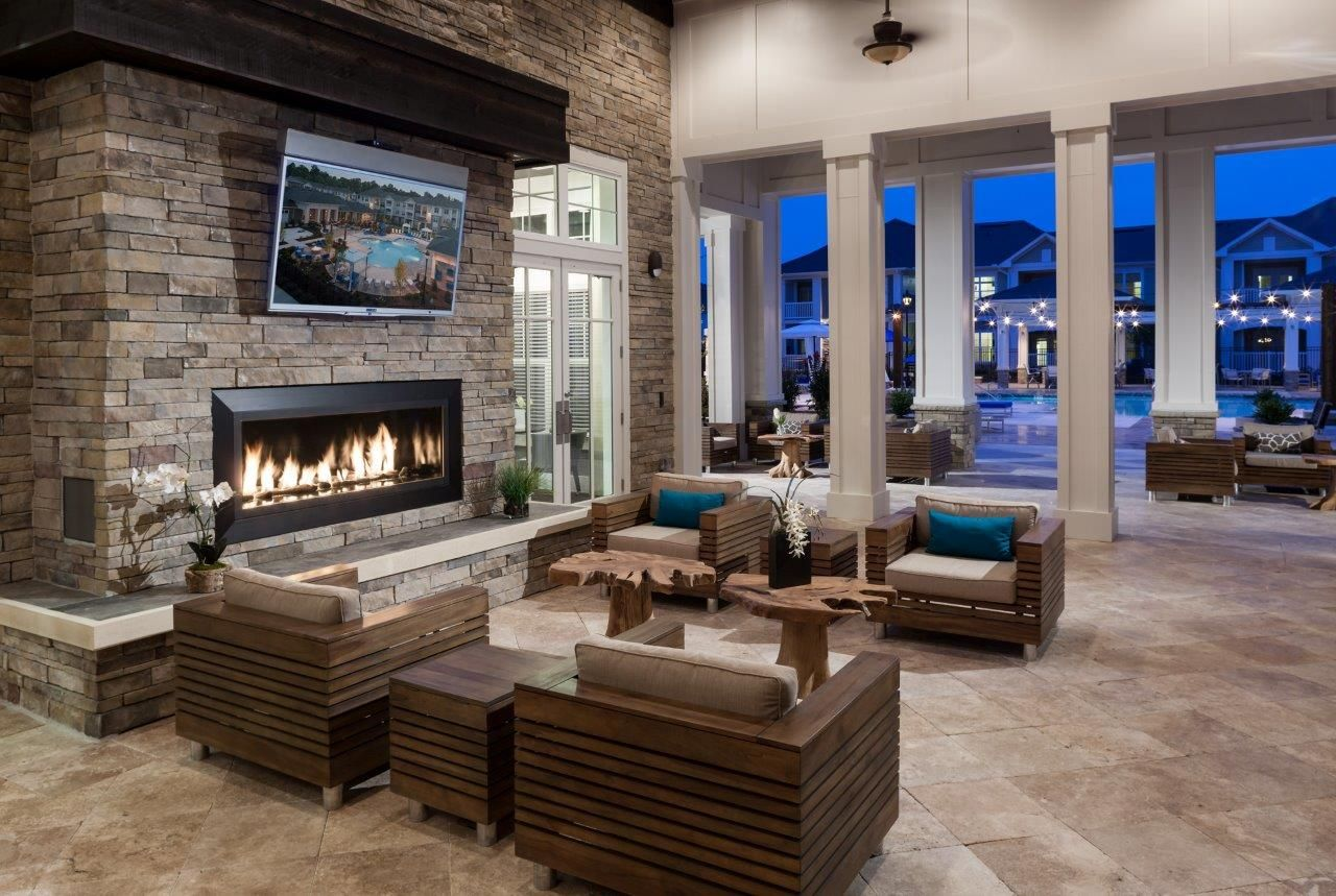 Covered patio seating with fireplace