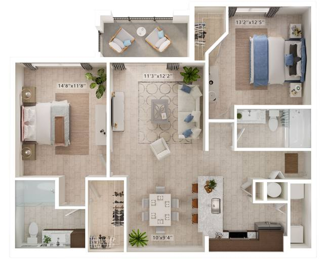 A rendering of the Moves floor plan
