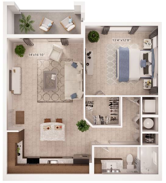 A rendering of the Expression floor plan