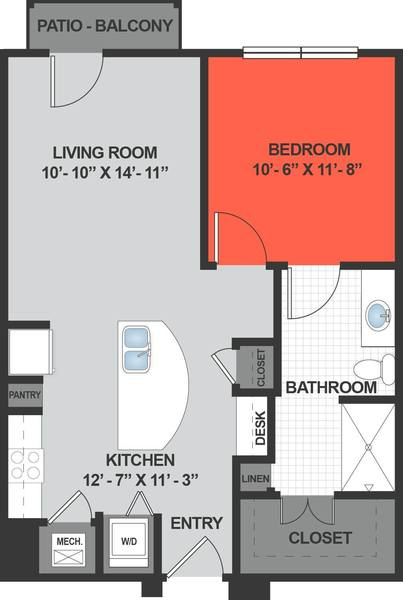 A rendering of the A1 floor plan