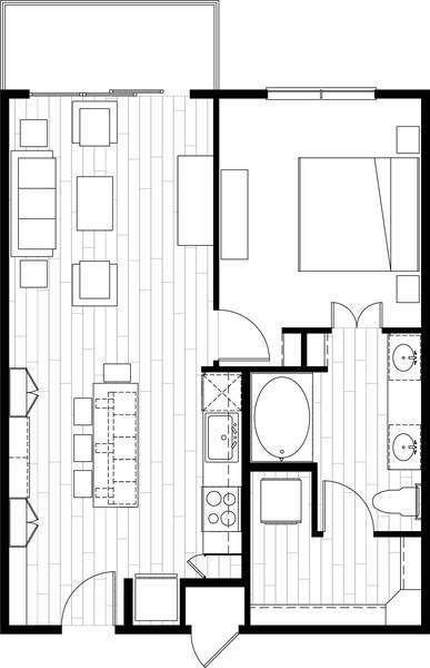 A rendering of the A5 floor plan
