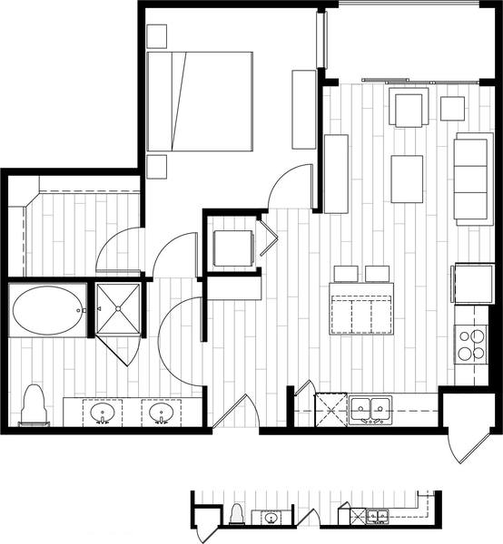 A rendering of the A8 floor plan