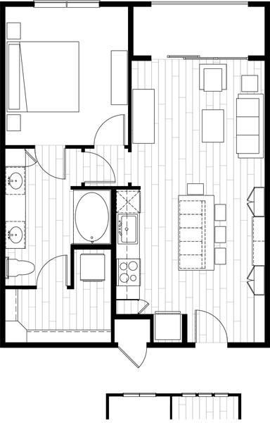 A rendering of the A3.1 floor plan