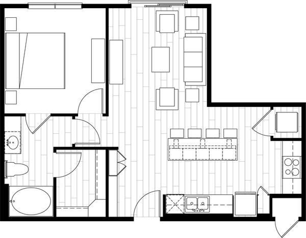 A rendering of the A7 floor plan