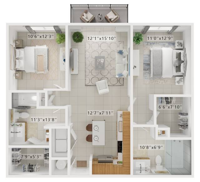 A rendering of the Carlyle  floor plan