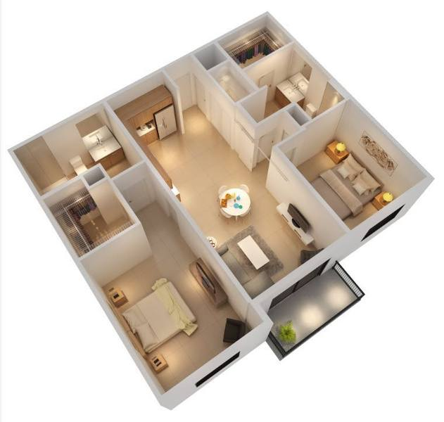 A rendering of the Commodore floor plan
