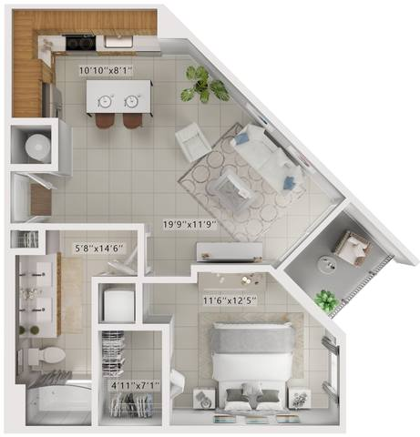A rendering of the Palmer  floor plan