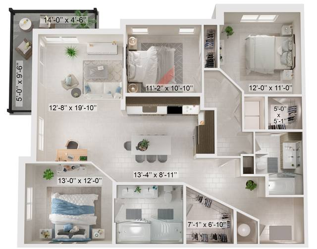 A rendering of the Cluny floor plan