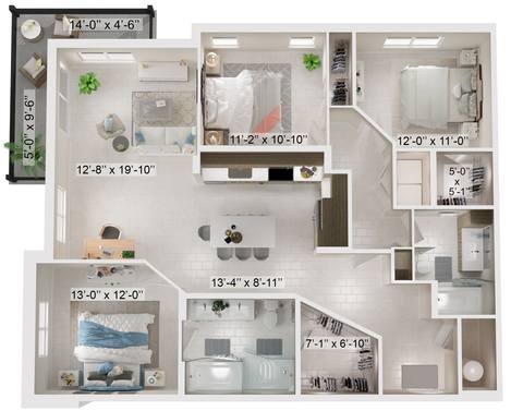 A rendering of the Cabas floor plan